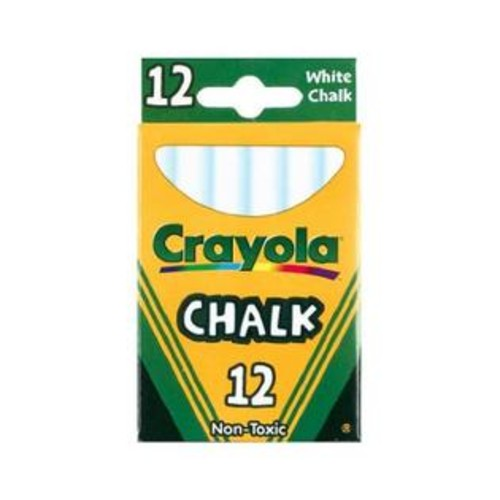 Crayola 51-0320 Chalk For Blackboards And Paper, 12 Sticks, White