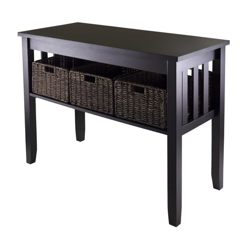 Morris Collection Wood/MDF Console/Hall Table with 3 Foldable Wicker Baskets