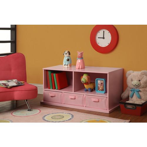 Badger Basket Shelf Storage Cubby with 3 Baskets Finish: Pink - 90811