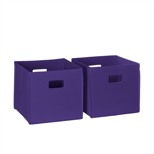 RiverRidge Home Folding Storage Bin Set in Dark Purple (2-Piece)