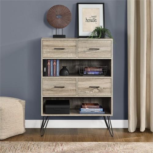 Dorel Landon Sonoma Oak/Gunmetal Gray Bookcase with Bins