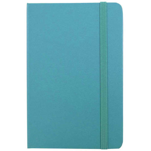 JAM Paper Hardcover Notebook with Elastic Band, Travel Size, 4 x 6 Journal, Caribbean Blue, 70 Lined Sheets, Sold Individually [capacity-1]
