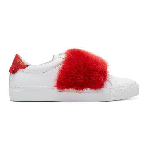 GIVENCHY White & Red Fur Urban Knots Sneakers