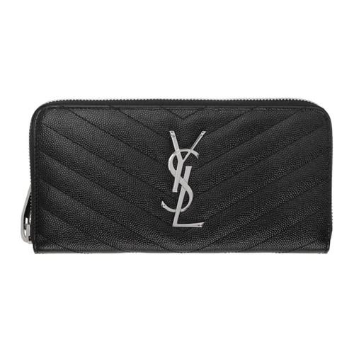 SAINT LAURENT Black Quilted Monogram Zip Around Wallet