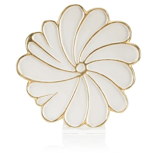 Swirling Petals Charger, White/G