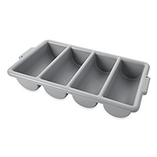 Rubbermaid Commercial FG336200GRAY 4-Compartment Cutlery Bin, Gray [PACK]