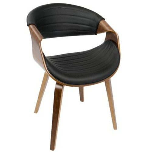 LumiSource Symphony Mid-Century Modern Dining / Accent Chair in Light Grey Wood and Black PU (CH-SYMP WL+BK)