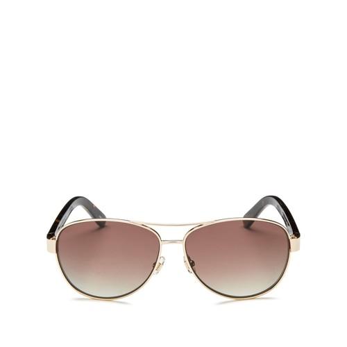KATE SPADE NEW YORK Dalia Polarized Brow Bar Aviator Sunglasses, 57Mm