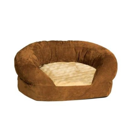 K&H Pet Products Ortho Bolster Sleeper Extra Large Brown Velvet Dog Bed