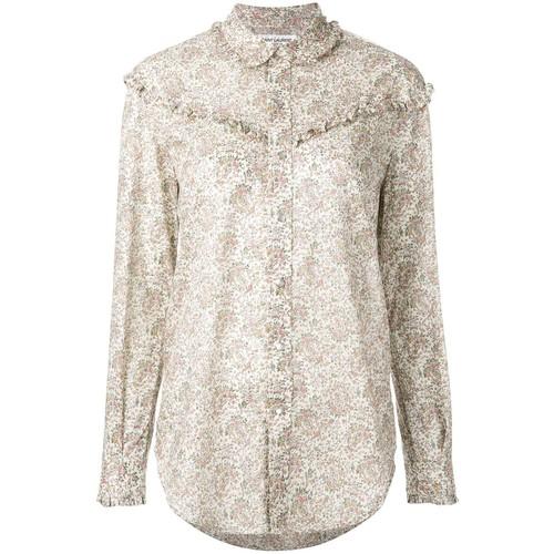 SAINT LAURENT Paisley Print Ruffled Western Shirt