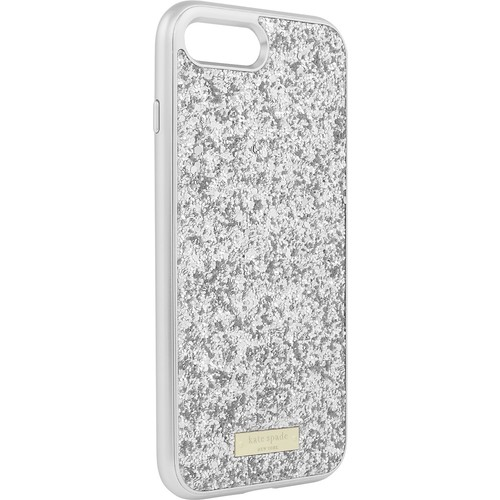 kate spade new york - Exposed Glitter Case with Metallic Bumper for Apple iPhone 7 Plus - Silver/Exposed glitter silver