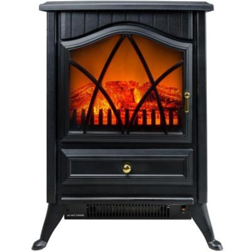 AKDY 16 in. Freestanding Electric Fireplace Stove Heater in Black with Vintage Glass Door, Realistic Flame and Logs