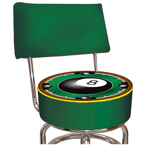 Trademark Global Rackem 8-Ball Padded Bar Stool with Back