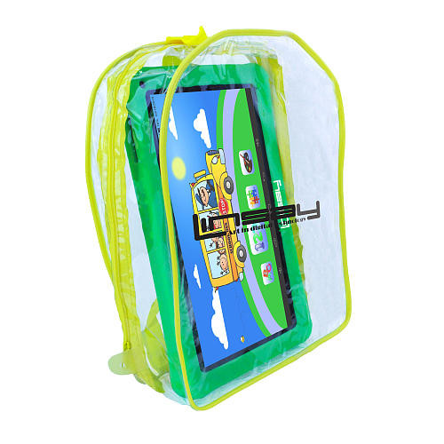 LINSAY 10.1 inch Quad Core New Kids Funny Tablet with Backpack - Green