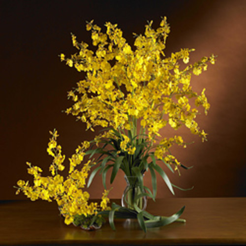 Forsythia Vase Silk Flower Arrangement