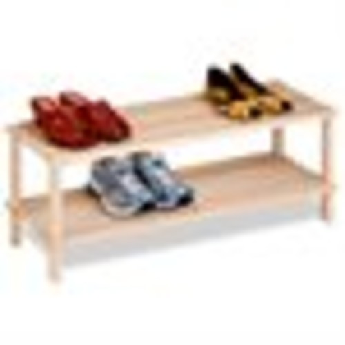 Honey-Can-Do SHO-02151 2-Tier Unfinished Natural Wood Shoe Rack