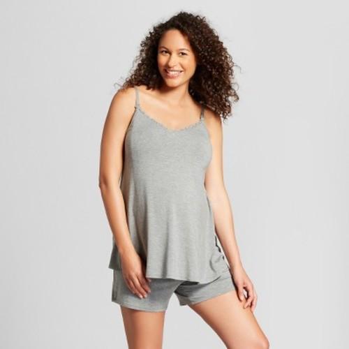 Maternity Nursing Sleepwear Cami and Shorts Pajama Set - Isabel Maternity by Ingrid & Isabel Medium Heather Gray
