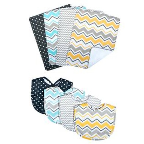 Trend Lab Zigzag Bouquet Bib and Burp Cloth Set