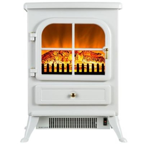 AKDY 17 in. Freestanding Electric Fireplace Stove Heater in White with Vintage Glass Door, Realistic Flame and Logs