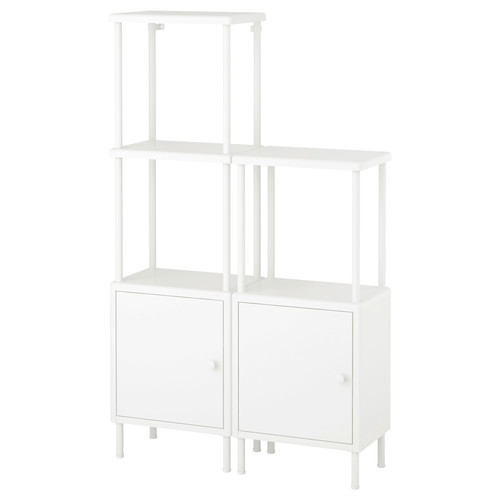 DYNAN Shelving unit with 2 cabinets, white