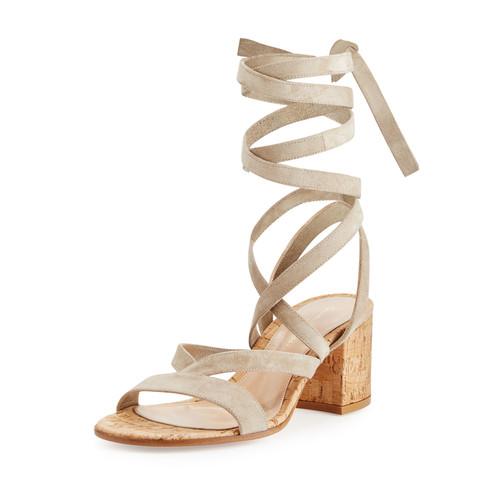 GIANVITO ROSSI Janis Suede Leg-Wrap Sandal, Cashmere/Cork