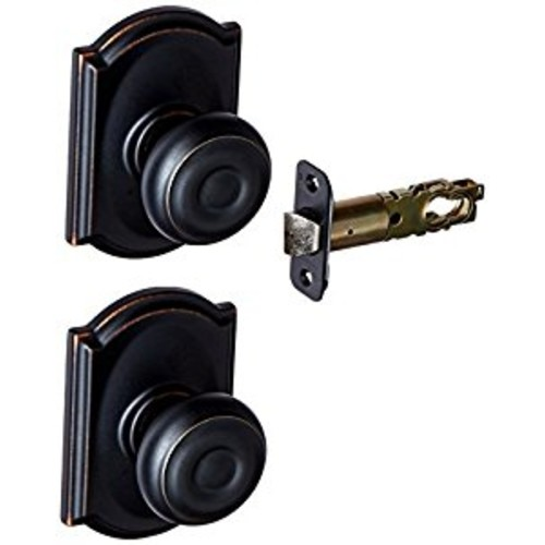 Schlage F10 GEO 716 CAM Camelot Collection Georgian Passage Knob, Aged Bronze [Aged Bronze, Passage]