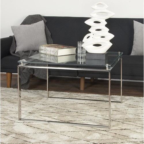 Clear Glass Coffee Table with Silver Stainless Steel Legs