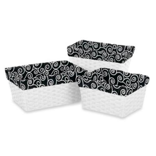 Sweet Jojo Designs Kaylee Scroll Print Basket Liners in Black/White (Set of 3)