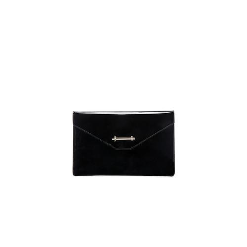 M2MALLETIER Envelope Clutch In Black Patent