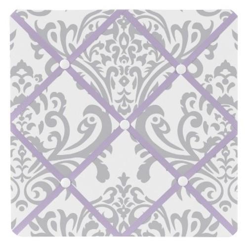 Sweet Jojo Designs Lavender and Gray Elizabeth Collection Fabric Memo Board