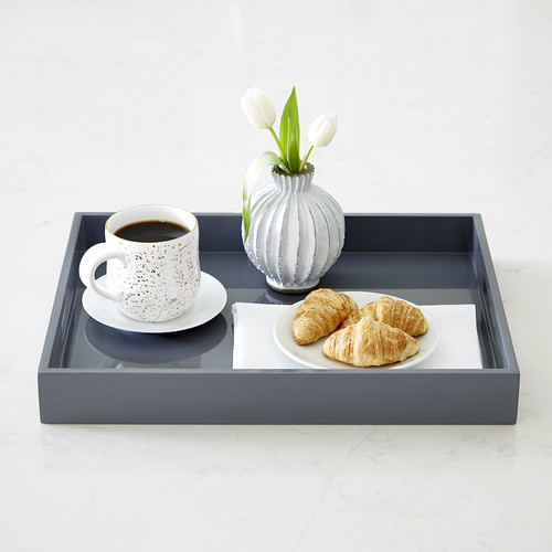 Grey Lacquered Serving Tray with Handles