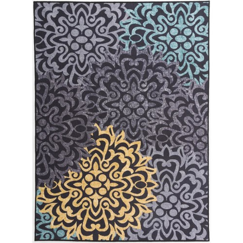 Modern Transitional Floral Non-Slip Gray 7 ft. 10 in. x 10 ft. Area Rug