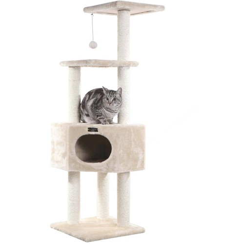 Armarkat Cat tree Furniture Condo, Height- 60-Inch to 70-Inch [Beige Condo]