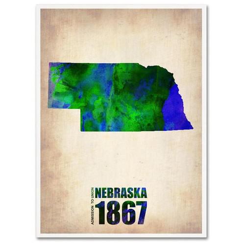 Naxart 'Nebraska Watercolor Map' Canvas Wall Art 24 x 32
