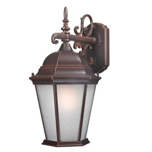 Design Traditional Wall-Mount 18 in. Outdoor Old Bronze Lantern with White Glass Shade