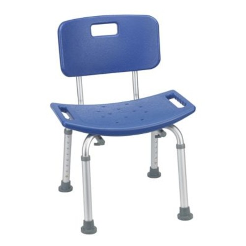 Drive Medical Bathroom Safety Shower Tub Bench Chair, With Back, Blue