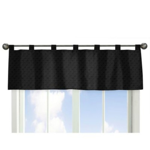 Sweet Jojo Designs Minky Dot Window Valance in Black