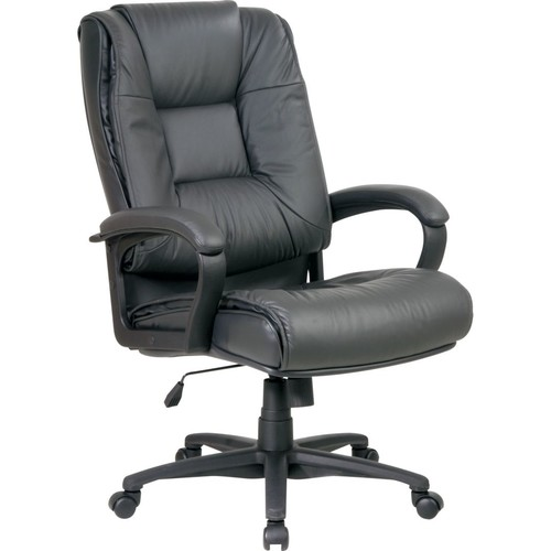 Office Star Leather Executive High-Back Chair; Charcoal