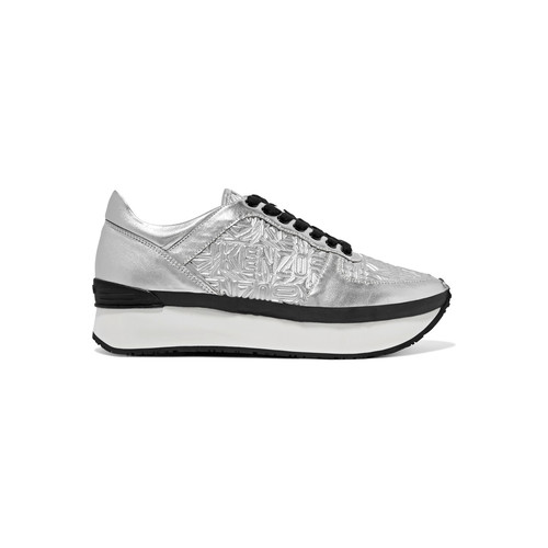 BASKET METALLIC EMBOSSED AND SMOOTH LEATHER PLATFORM SNEAKERS