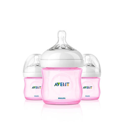 Philips AVENT 4 Ounce BPA Free Natural Polypropylene Bottles 3 Pack - Pink