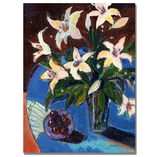Trademark Global Sheila Golden 'A Bowl of Cherries' Canvas Art [Overall Dimensions : 18x24]
