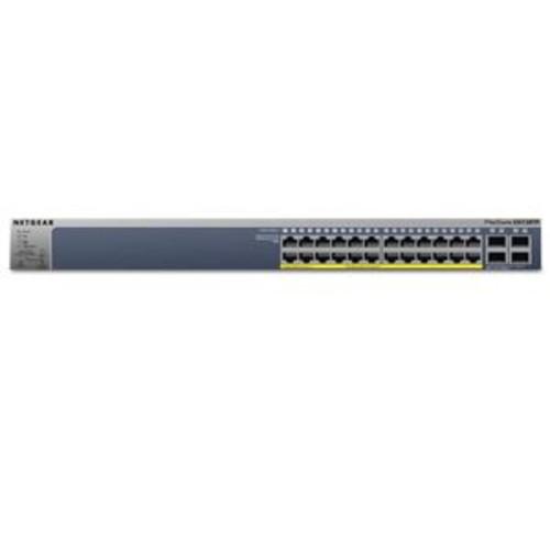 NETGEAR ProSAFE GS728TP 24-Port Gigabit PoE Smart Managed Switch  8x PoE+ 30W Ports, 16x PoE 15.4W Ports, 4x SFP Ports, Up to 192W PoE Budget, 256 VLANs, 8K MAC, Layer 2 switching - GS728TP-100NAS