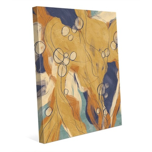 Heart Strings Orange And Blue Wall Art on Canvas