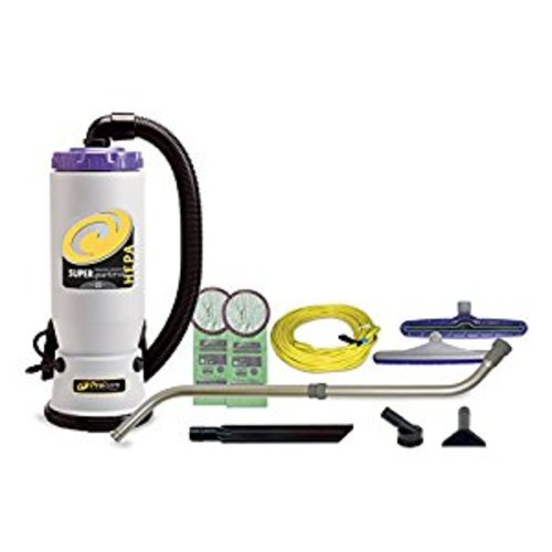 ProTeam Backpack Vacuums, Super QuarterVac Commercial Backpack Vacuum Cleaner with HEPA Media Filtration and Telescoping Wand Tool Kit, 6 Quart, Corded [7pc Commercial Tool Kit(Telescoping Wand)]
