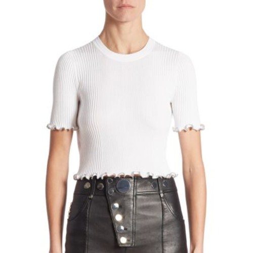 ALEXANDER WANG Ribbed Cotton-Blend Cropped Tee