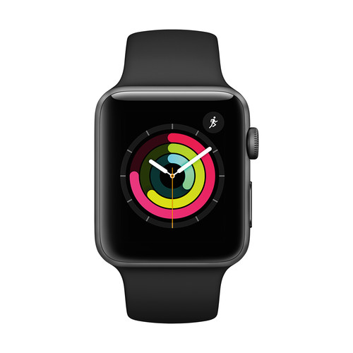Apple Watch Series 3 with Space Gray Aluminum Case, 42mm - Black Sport Band
