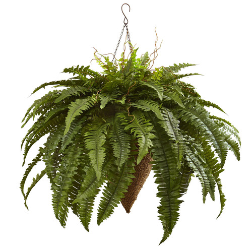 Nearly Natural Giant Boston Fern Hanging Basket
