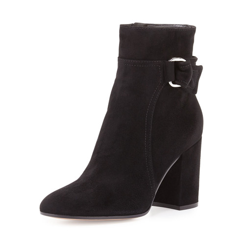 GIANVITO ROSSI Suede 85Mm Block-Heel Boot, Black