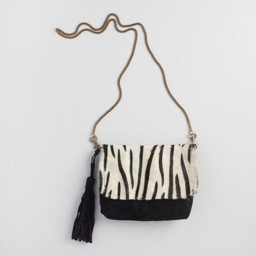 Zebra Pony Hair Crossbody Bag