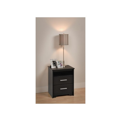 Prepac Black Coal Harbor 2 Drawer Tall Nightstand with Open Shelf